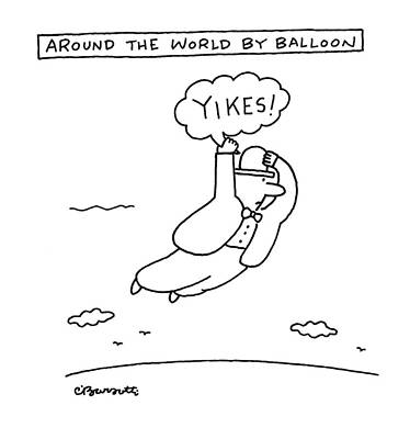 May 2nd Drawing - Around The World By Balloon by Charles Barsotti