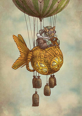 Steampunk Drawing - Around The World In The Goldfish Flyer by Eric Fan