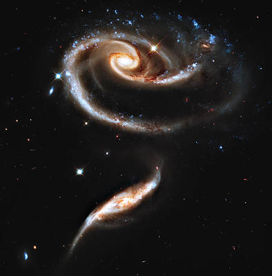 Hubble Telescope Photograph - Arp 273 Rose Galaxies by Ricky Barnard