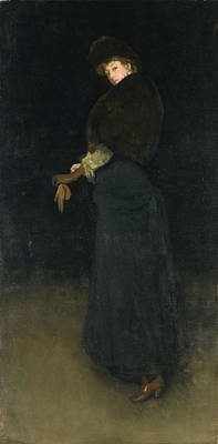 Whistler Painting - Arrangement In Black. The Lady In The Yellow Buskin by James Abbott McNeill Whistler