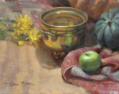 Squash Painting - Arrangement In Gold And Green by Anna Rose Bain