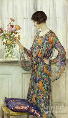Silk Painting - Arranging Flowers by William Henry Margetson