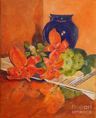 Glass Table Reflection Painting - Arranging The Lilies by Barbara Moak