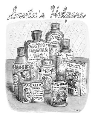 Santa Drawing - Array Of Fake Medicines And Products Designed by Roz Chast