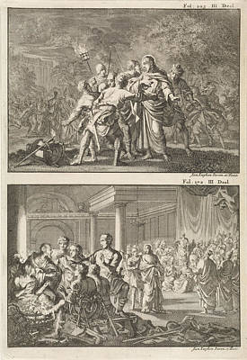 Arrest Of Christ And Peter Denies Christ Print by Jan Luyken And Willem Broedelet