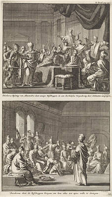 Arrest Of Some Bishops At The Order Of Bishop Dioscorus Art Print by Jan Luyken And Jacobus Van Hardenberg And Barent Visscher