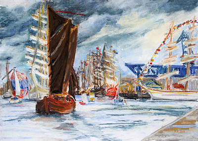 Arrival At The Hanse Sail Rostock Print by Barbara Pommerenke