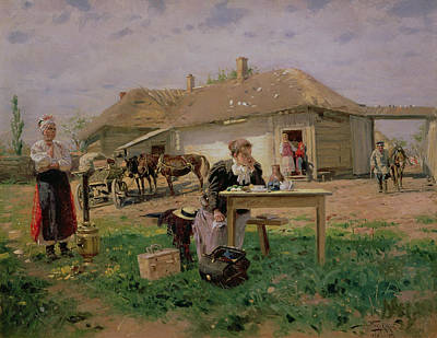 Arrival Of A School Mistress In The Countryside, 1897 Oil On Canvas Art Print by Vladimir Egorovic Makovsky
