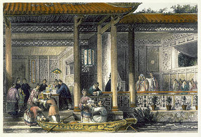Chinese Architecture Drawing - Arrival Of Marriage Presents by Thomas Allom