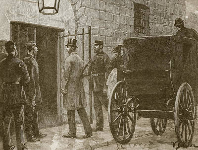 Entrance Door Drawing - Arrival Of Mr Parnell At Kilmainham by William Barnes Wollen