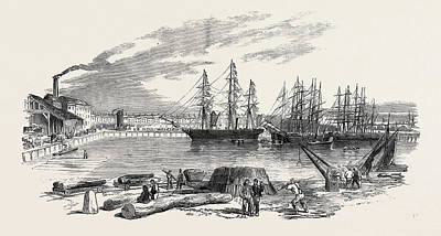 Collier Drawing - Arrival Of The John Bowes Screw Steamer In The Collier Dock by English School