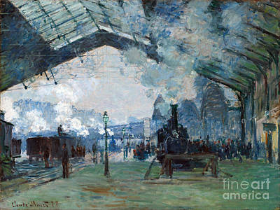 Gare Painting - Arrival Of The Normandy Train Gare Saint-lazare by Claude Monet