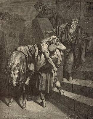 Arrival Of The Samaritan At The Inn Art Print by Antique Engravings