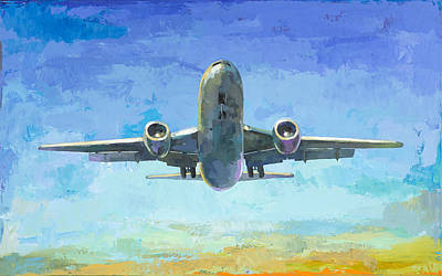 Airplane Painting - Arrivals #5 by David Palmer