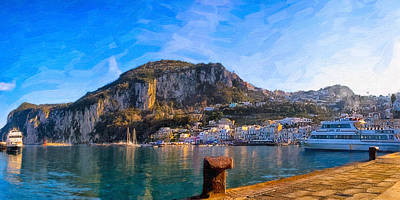 Photograph - Arriving In Marina Grande At Capri - Italian Panorama by Mark E Tisdale