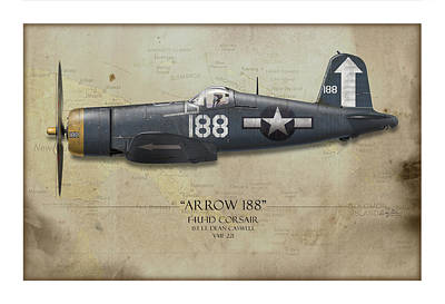 Black Hills Painting - Arrow 188 F4u Corsair - Map Background by Craig Tinder