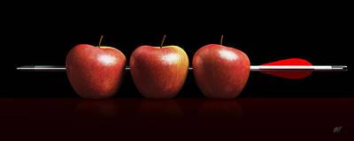 Archer Digital Art - Arrow Three Apples A Hit In Black by Bruno Haver