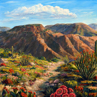 Desert Painting - Arroyo Lindo Desert In Bloom by SJW Grogan