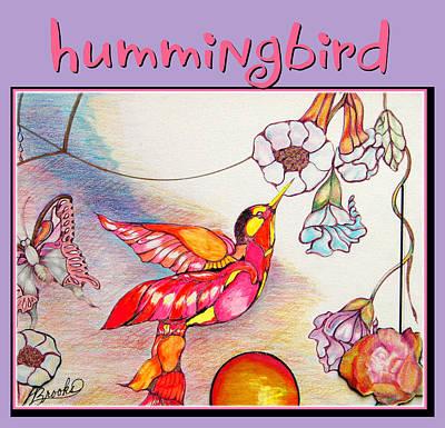 Art Print featuring the drawing Hummingbird And Flower by Brooks Garten Hauschild