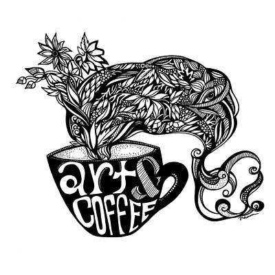 Passion Vine Drawing - Art And Coffee by Jody Pham