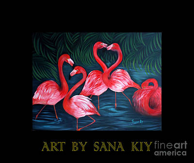 Painting - Art By Sana Kiy. Flamingo Love. by Oksana Semenchenko