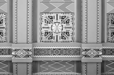 Photograph - Art Deco Ceiling Decoration - Bw by Nikolyn McDonald