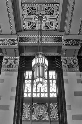 Photograph - Art Deco Chandelier - Bw by Nikolyn McDonald