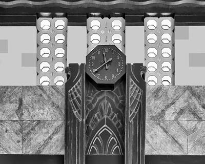 Photograph - Art Deco Clock - Bw by Nikolyn McDonald