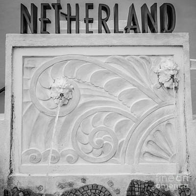 Netherland Photograph - Art Deco Detail 2 Netherland South Beach Miami - Black And White by Ian Monk