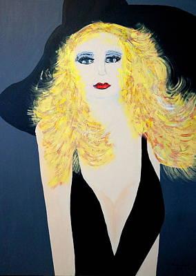Art Deco Girl With Black Hat Art Print
