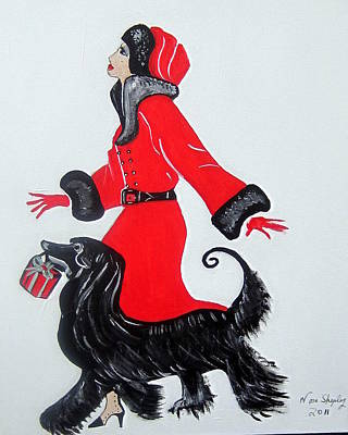 Art Deco  Girl With Red  Coat Art Print