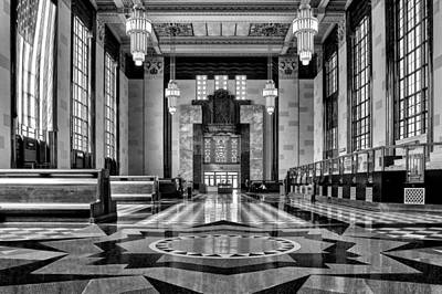 Photograph - Art Deco Great Hall #2 - Bw by Nikolyn McDonald