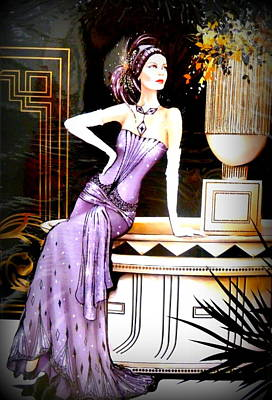 The Creative Minds Photograph - Art Deco Lady In Purple by The Creative Minds Art and Photography