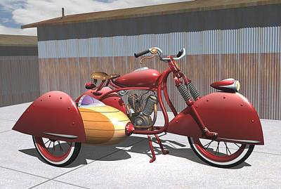 Art Deco Motorcycle With Sidecar Original by Stuart Swartz