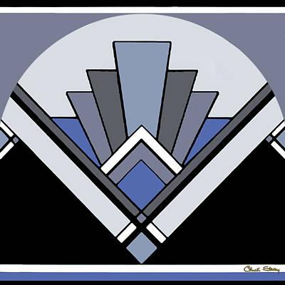 Digital Art - Art Deco Pattern Two - Blue by Chuck Staley