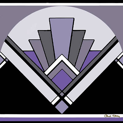 Digital Art - Art Deco Pattern Two - Purple by Chuck Staley