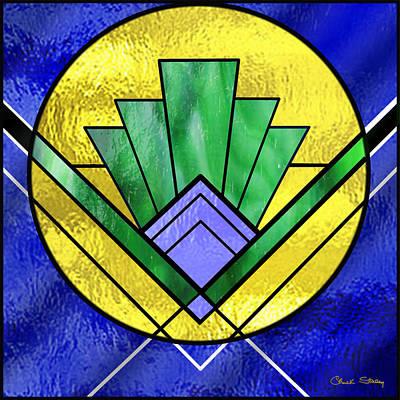 Glass Wall Digital Art - Art Deco - Pattern Two - Yellow Circle by Chuck Staley
