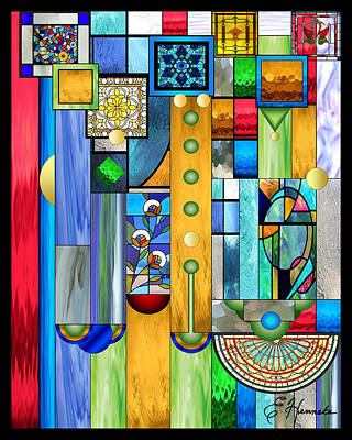 Mixed Media - Art Deco Stained Glass 1 by Ellen Henneke