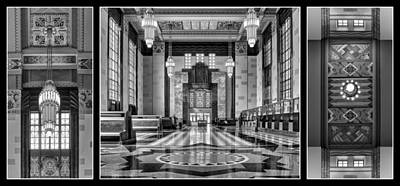 Photograph - Art Deco Triptych #1 - Bw by Nikolyn McDonald