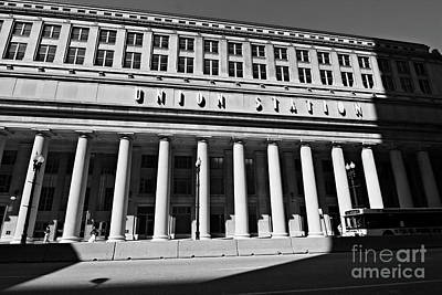 Art Deco Union Station Chicago Illinois Film Noir Style Photo Art Print by Linda Matlow