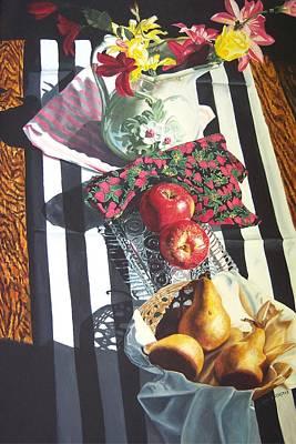 art for sale still life oil painting print Stripes and Fruit Forever  Art Print by Diane Jorstad