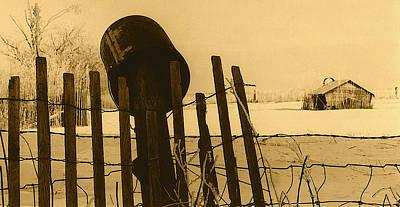 Book Quotes - Art homage Andrew Wyeth bucket fence  near Aberdeen South Dakota 1965-2008 by David Lee Guss