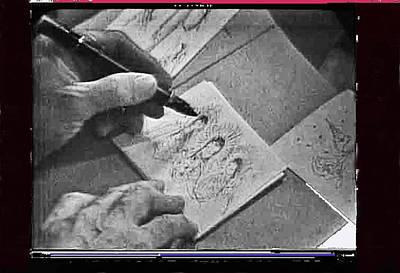 Art Homage Ted Degrazia Pen Ink Drawing  On Camera Kvoa Tv Studio January 1966 Screen Capture Print by David Lee Guss