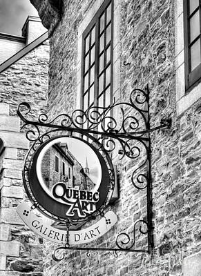 Photograph - Art In Old Quebec Bw by Mel Steinhauer