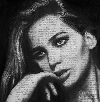 Drawing - Art In The News 36- Jennifer Lawrence by Michael Cross
