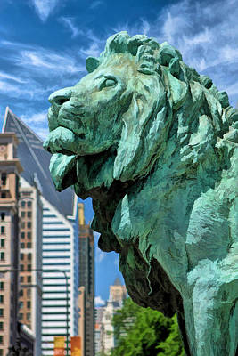 Chicago Painting - Art Institute In Chicago Lion by Christopher Arndt
