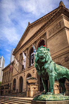 Art Institute Of Chicago Lion Statue Art Print by Paul Velgos