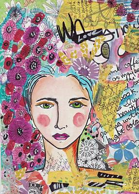 Boho Mixed Media - Art Journal Boho Girl by Rosalina Bojadschijew