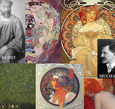 Mucha Painting - Art Nouveau Collage by Philip Ralley