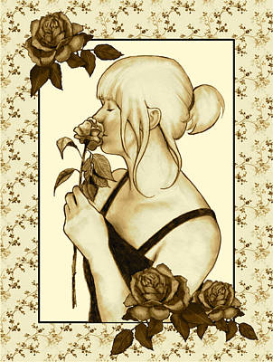 Art Nouveau Style Woman With Roses Art Print by Joyce Geleynse